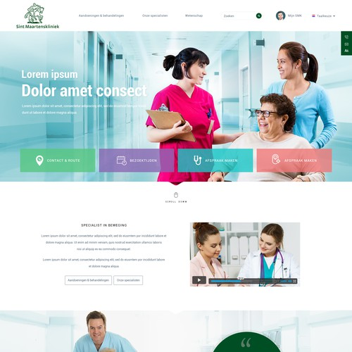 Modern homepage design for a hospital