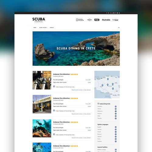 Scuba diving blog website design