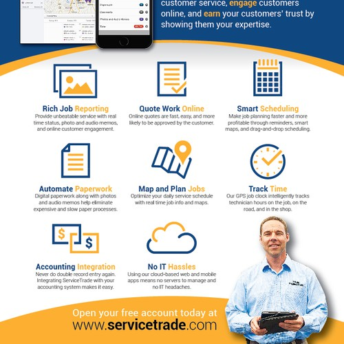 ServiceTrade two-page print ad spread