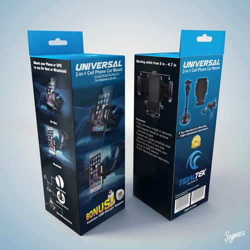 Create Packaging For Cell Phone Mount (Color Box) - Sleek & Modern Design!