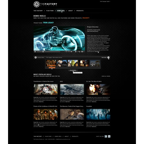 Web site for Cloud Film Production Company: Factory Studios