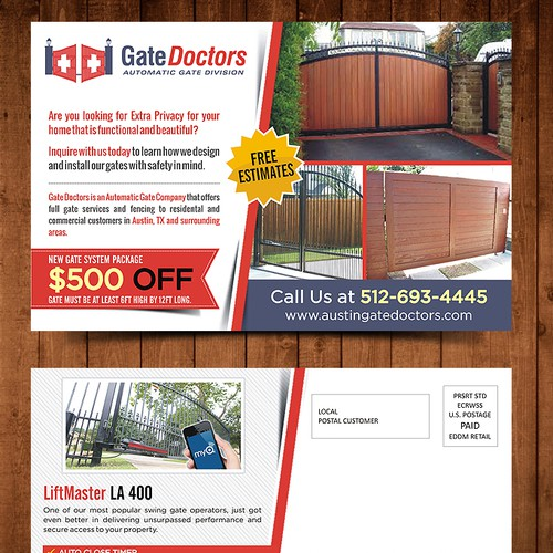 Create an eye catching postcard ad for Gate Doctors!