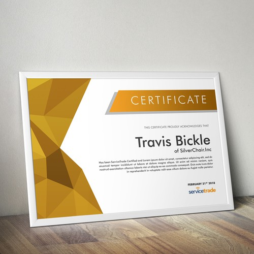 Certificate design for Service Trade