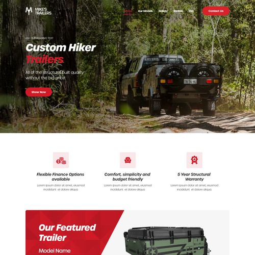 Web Design for an Offroad Trailers Company