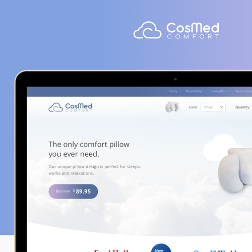 Homepage design for Cosmed Pillow