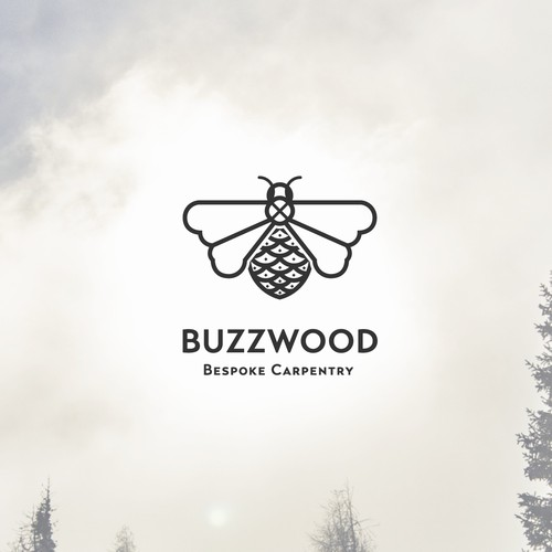 Eye popping bee logo for Buzzwood