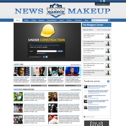 CREATE THE LANDING PAGE FOR NEWS MAKEUP, A SATIRICAL NEWS STARTUP FOR CASH AND POTENTIALLY EQUITY