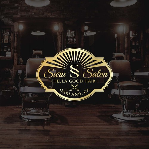 Funky sophisticated logo for urban Oakland Salon