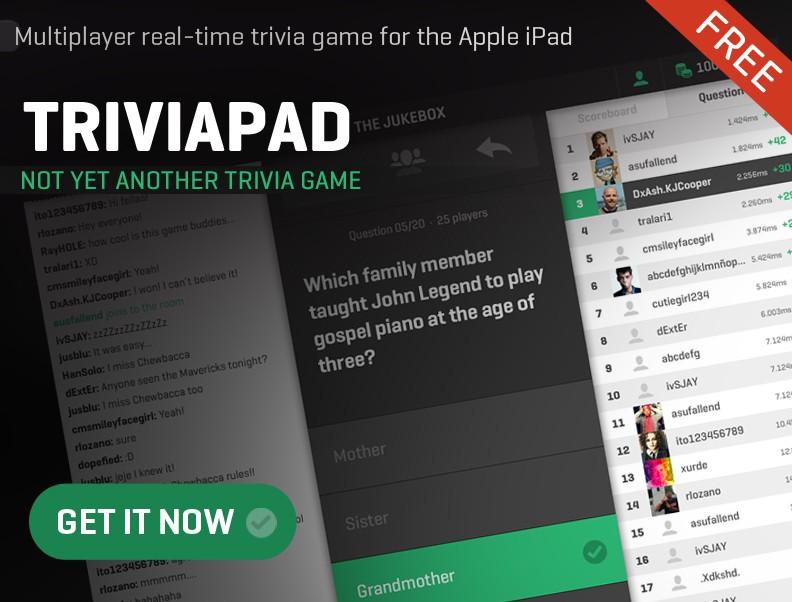 Create a banner ad for the Triviapad iPad app