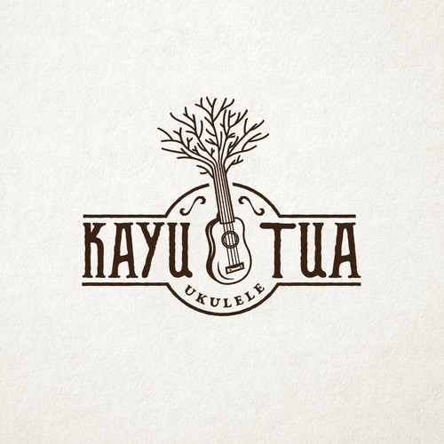 """Old Tree"" Ukulele Shop Classic Logo Design"