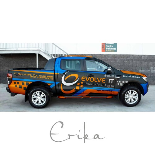 Black Ford Ranger XLS Wrapping design for IT company