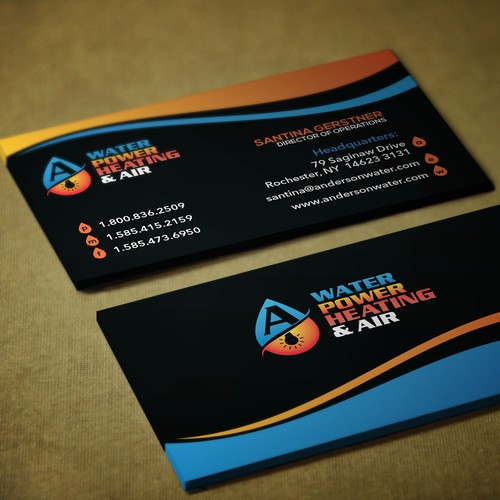 Business Card Design for WATER POWER HEATING & AIR