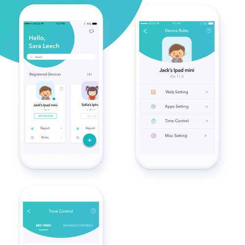 Modern and funny App design for parent