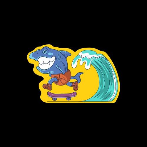 shark sticker design