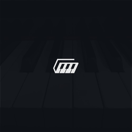 negative space piano logo