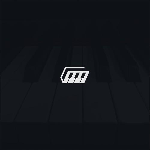 negative space piano logo