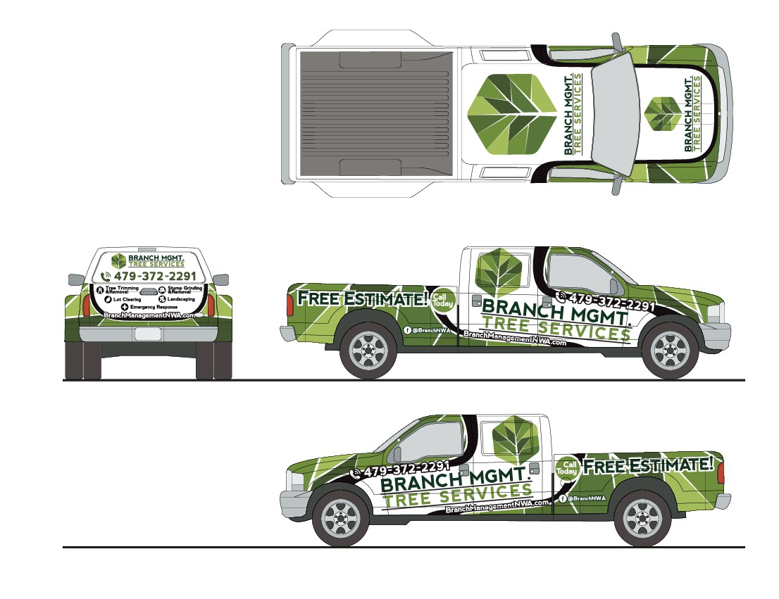 Professional Branch Management Truck Wrap Design that communicates the services being offered easily