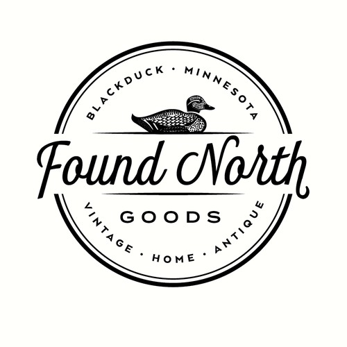 Logo design for a vintage home boutique called Found North Goods