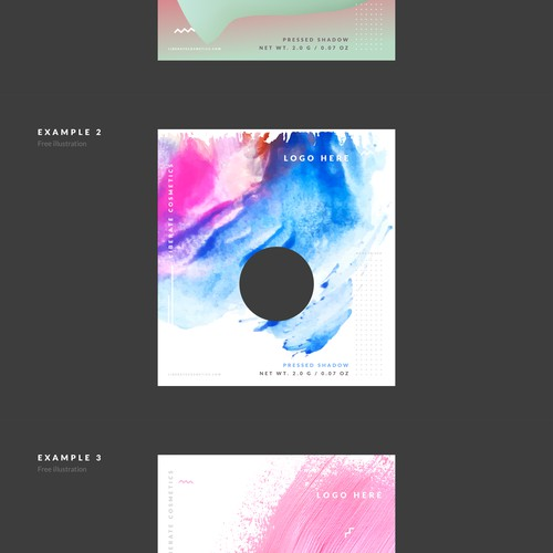 Design an abstract packaging concept for Liberate Cosmetics