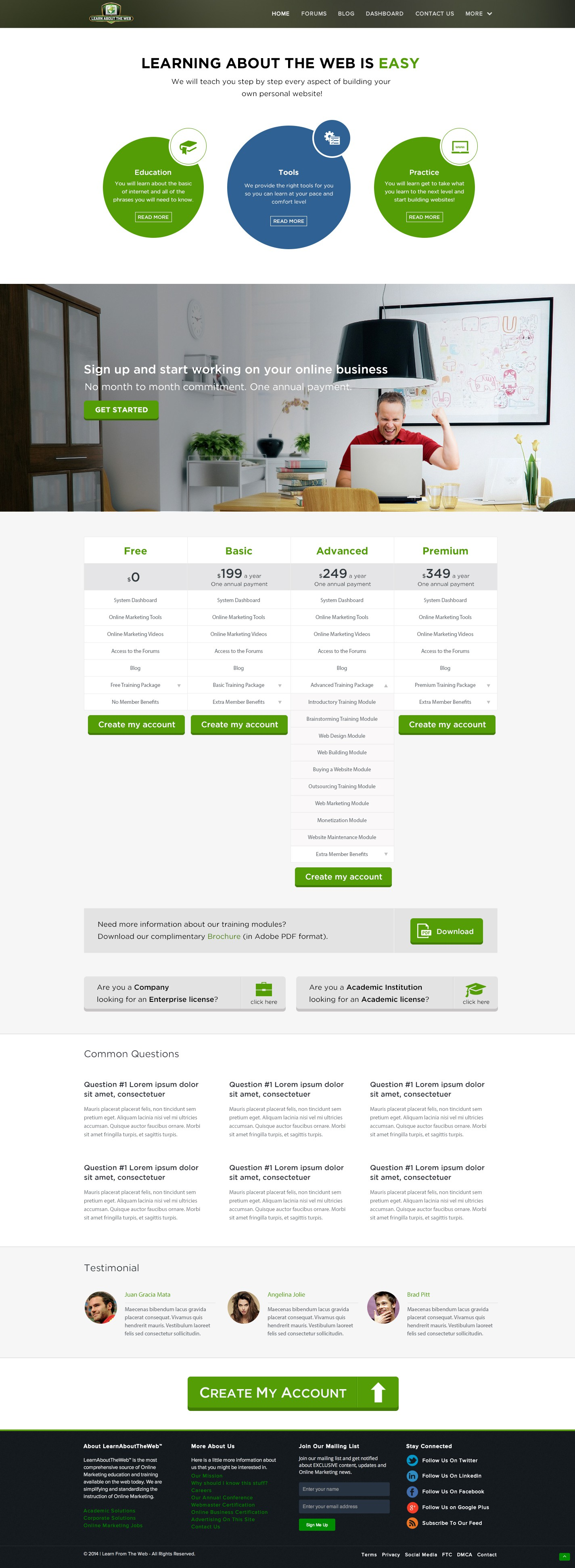 Create a Landing and Pricing Page for Learn About The Web Inc.