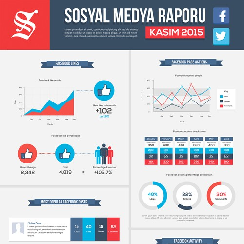 Social Media Report Infographic template