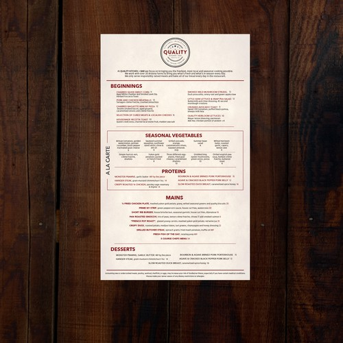 unique yet professional menu for truly Farm to Table restaurant to be opened in Sedona, AZ