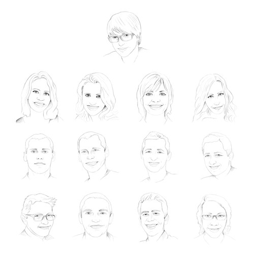 Create 12 digital portrait style line-drawings of Bit Zesty staff members