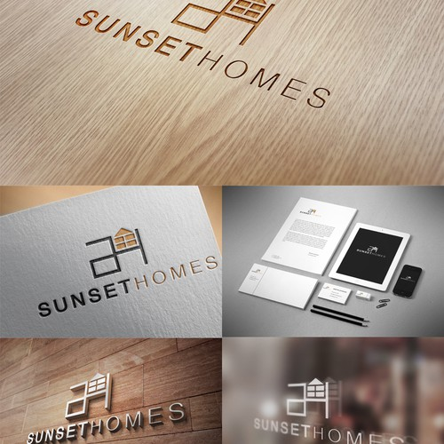 Create minimalist and mid-century modern logo for custom home builder