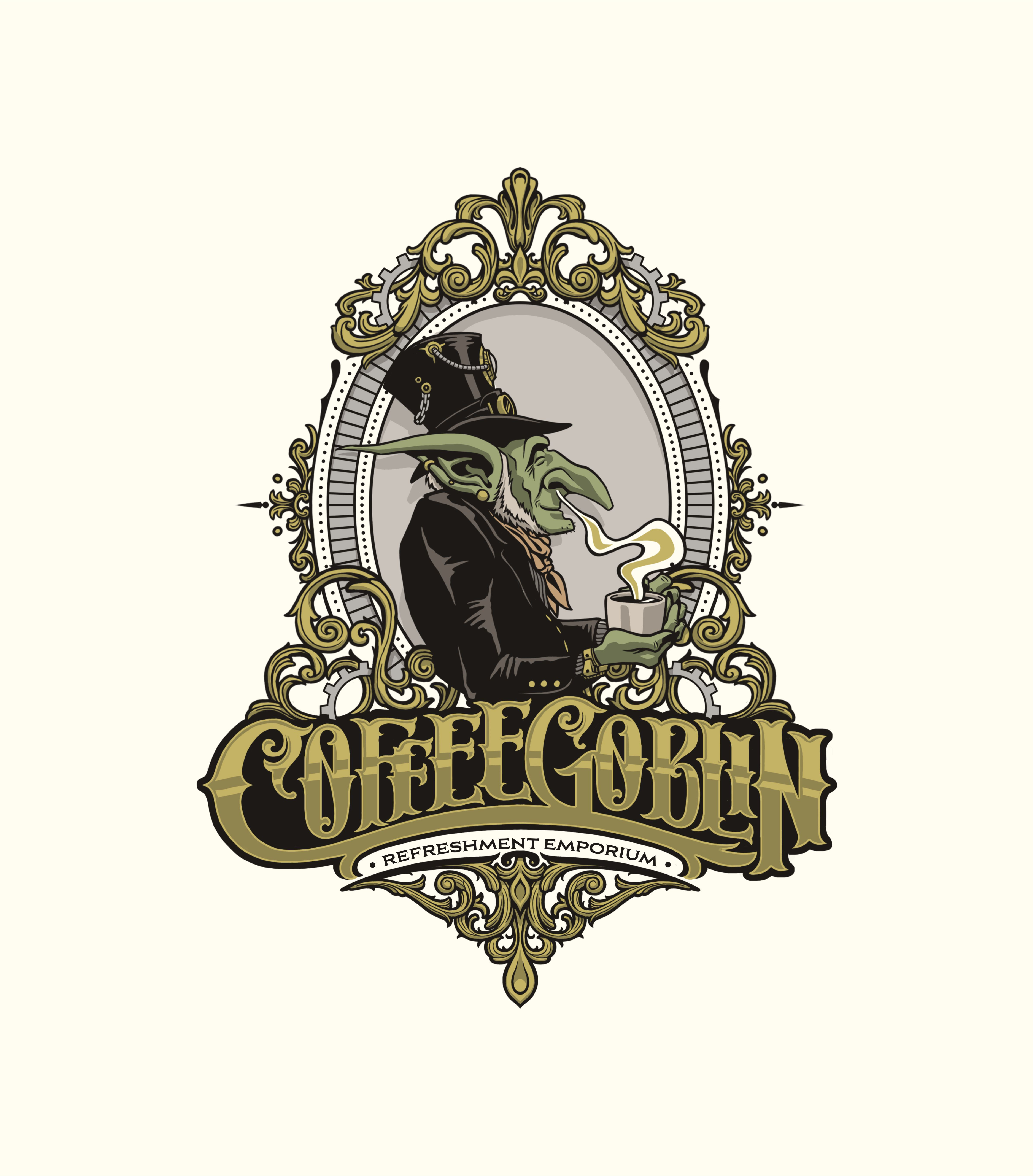 Coffee Goblin! Design a vintage coffee logo with steampunk style for coffee bag label/website/merch