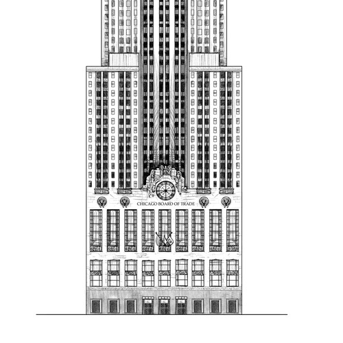 Line art of the Chicago Board of Trade Building