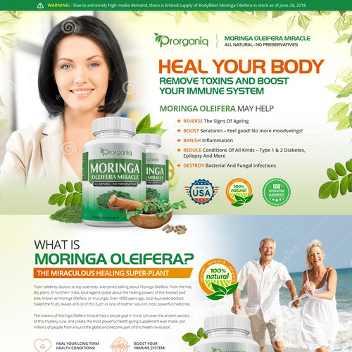 Landing page for a health supplement