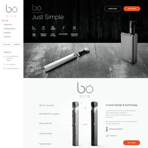 Responsive website for electronic cigarette
