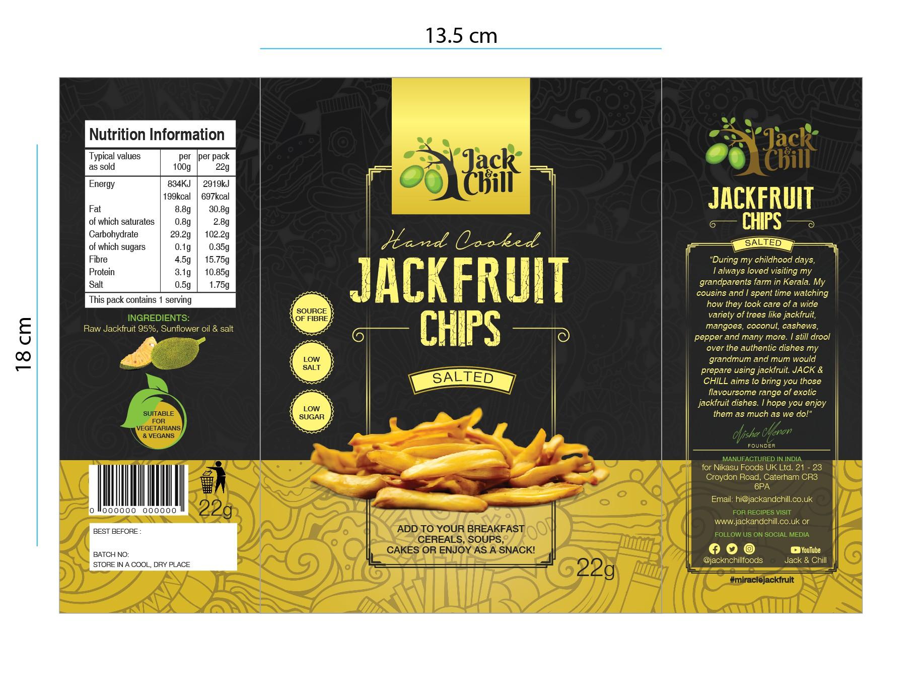 Powerful, Premium, modern Jackfruit Chips package design