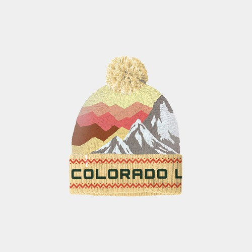 Beanie design mountain vintage