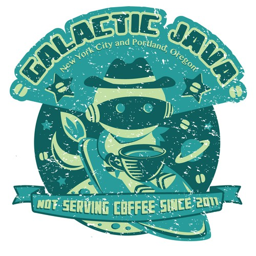 illustrated artwork: Galactic Java Space Coffeeshop