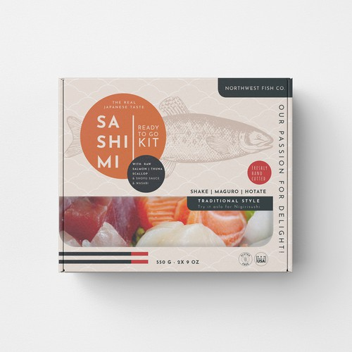 "Food packaging for ""Ready to Go Sashimi Kit"""