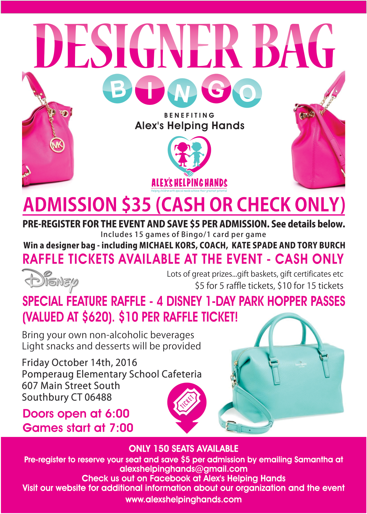 Flyer for Designer Bag Bingo benefitting Alex's Helping Hands