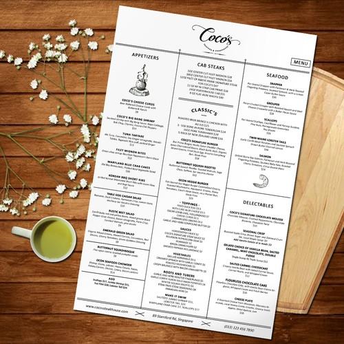 Steakhouse Menu Design for Coco Restaurant