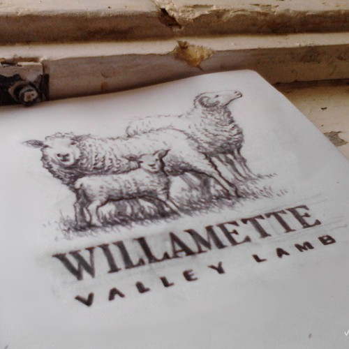 "Sketch for ""Willamette Valley Lamb"", a sheep farm."
