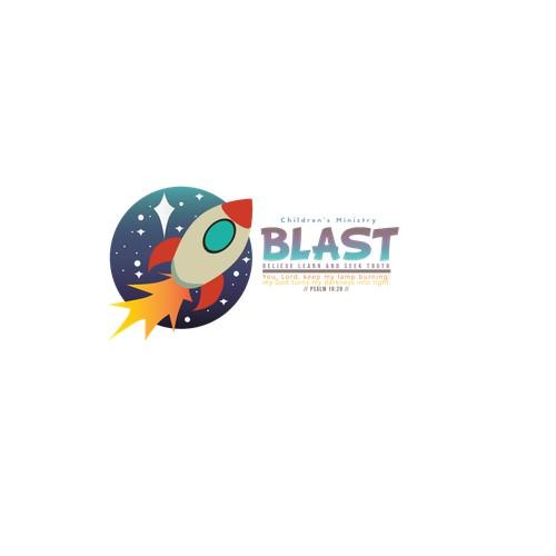Creats a cool, fun logo for B.L.A.S.T children's ministry
