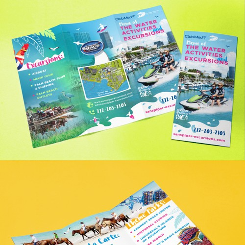 Tri-fold watersport brochure for Club Med Resort in Sandpiper Bay