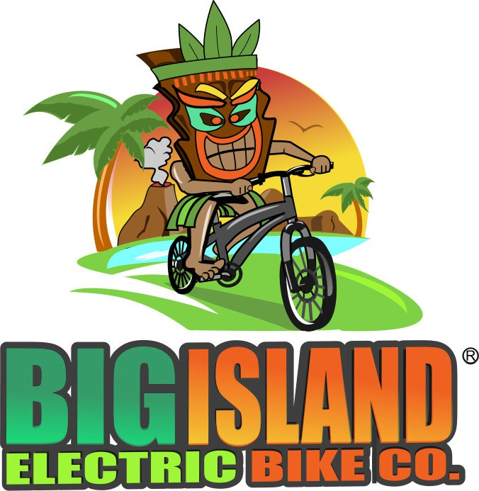 Create a dynamic logo for an electric bicycle tour and rental company based in Hawaii