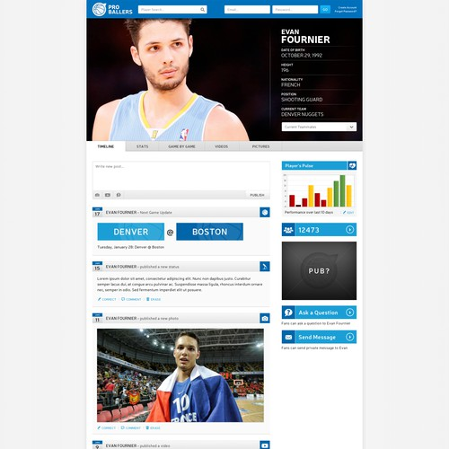 NBA Basketball > Design the social network for pro basketball players