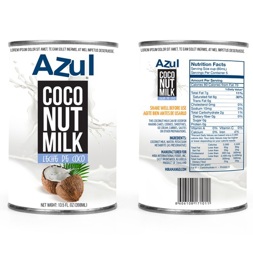 Coconut milk can label design