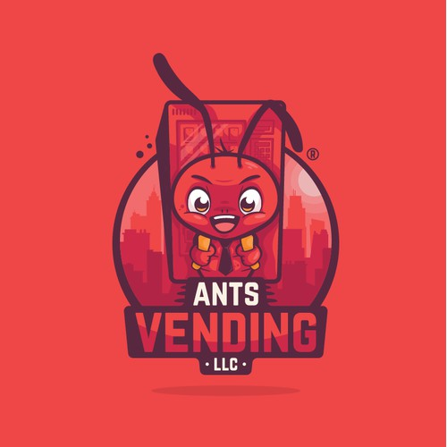 Ant mascot carrying a vending machine