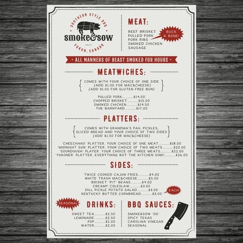 Menu design for side of food truck