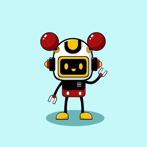 Cartoon robot mascot design
