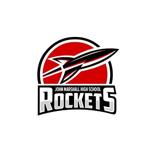 Bold sport logo concept for John Marshall Rockets