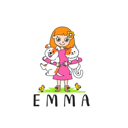 Logo design that expresses Emma and her kind and shows that she stands for love for animals.