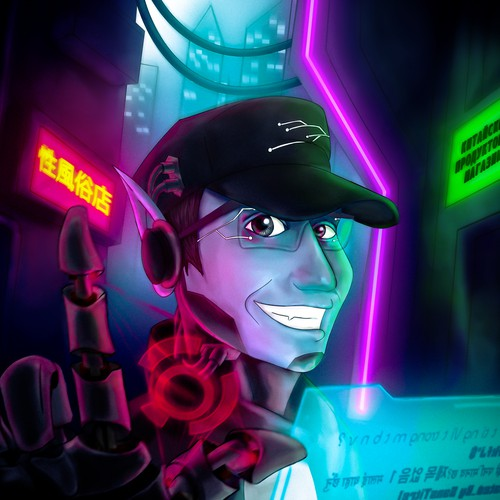 Illustration for a cyber punk fantaisy avatar.